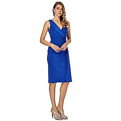 Debut - Blue 'Joules' V neck knee length wrap dress