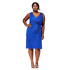 Debut - Blue 'Joules' V neck plus size wrap dress