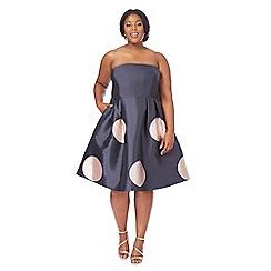 Debut - Navy spot print bandeau knee length plus size prom dress