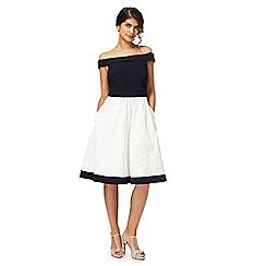 Debut - Ivory 'Hepburn' Bardot neck knee length prom dress