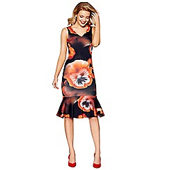 Debut - Multi-coloured floral print scuba bodycon dress