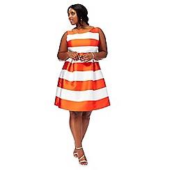 Debut - Orange 'Sophie' stripe print plus size prom dress