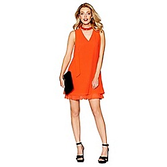 Debut - Orange chiffon 'Ruthia' shift dress