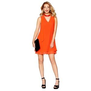 Debut Orange chiffon 'Ruthia' shift dress