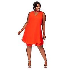 Debut - Orange chiffon 'Ruthia' plus size shift dress