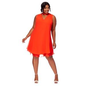 Debut Orange chiffon 'Ruthia' plus size shift dress