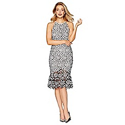 Debut - Black 'Bella' round neck midi length pencil dress