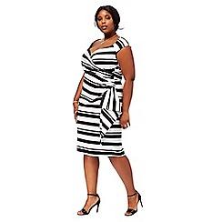 Debut - Black 'Claudette' stripe V-neck plus size pencil dress