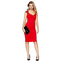Debut - Red scuba knee length bodycon dress
