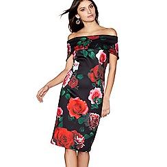 Debut - Black tulip print bardot knee length bodycon dress