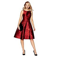 Debut - Red floral print jacquard knee length A-line dress