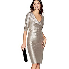 Debut - Gold V-neck midi dress