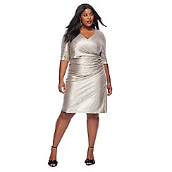 Debut - Gold V-neck plus size knee length dress