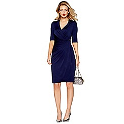 Debut - Navy jersey 'Josephine' V-neck knee length wrap dress