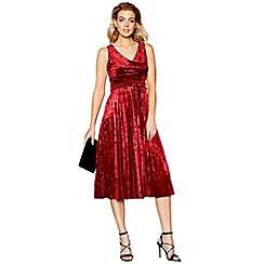 Debut - Red velvet v-neck pleated midi dress