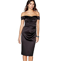 Debut - Black satin 'Origami' bardot neck knee length evening dress