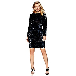 Debut - Black velvet sequinned long sleeve mini length dress