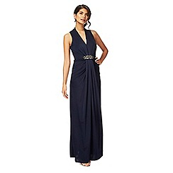 No. 1 Jenny Packham - Navy jersey 'Jennifer' V-neck full length evening dress