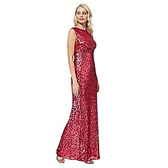 No. 1 Jenny Packham - Dark pink sequin 'Carrie' maxi dress