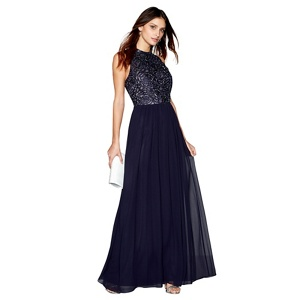 No. 1 Jenny Packham Navy chiffon 'Mabel Rose' evening dress
