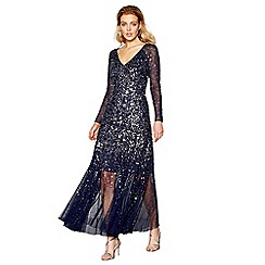 No. 1 Jenny Packham - Navy beaded long sleeve full length evening dress