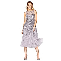 No. 1 Jenny Packham - Purple embellished midi fit and flare dress