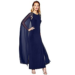 No. 1 Jenny Packham - Blue embellished cape full length evening dress