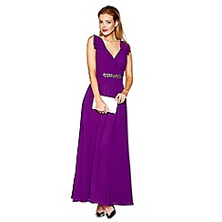 No. 1 Jenny Packham - Purple embellished V-neck full length evening dress