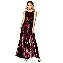 No. 1 Jenny Packham - Dark pink sequinned full length evening dress