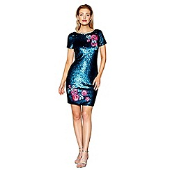 Butterfly by Matthew Williamson - Turquoise embroidered and sequinned mini dress