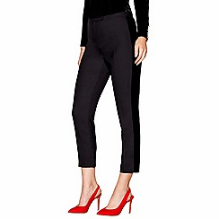 Siren by Giles - Black velvet trim tailored fit cropped trousers