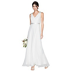 Debut - Ivory chiffon 'Gemima' v-neck full length wedding dress