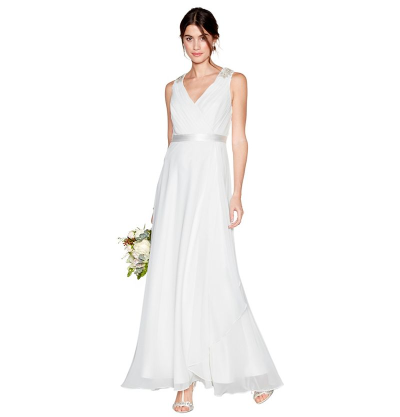 Debut Ivory chiffon Gemima v-neck full length wedding dress
