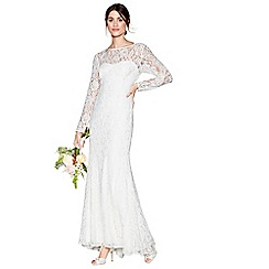 Debut - Ivory lace 'Eleanor' high neck long sleeves full length wedding dress