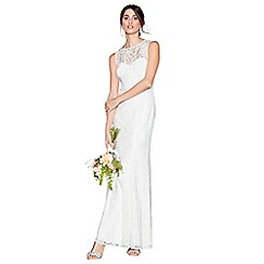 Debut - Ivory lace 'Elaine' high neck full length wedding dress