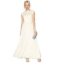 Debut - Light yellow chiffon lace 'Olivia' high neck bridesmaid dress