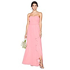 Debut - Coral chiffon 'Sara' strapless bridesmaid dress