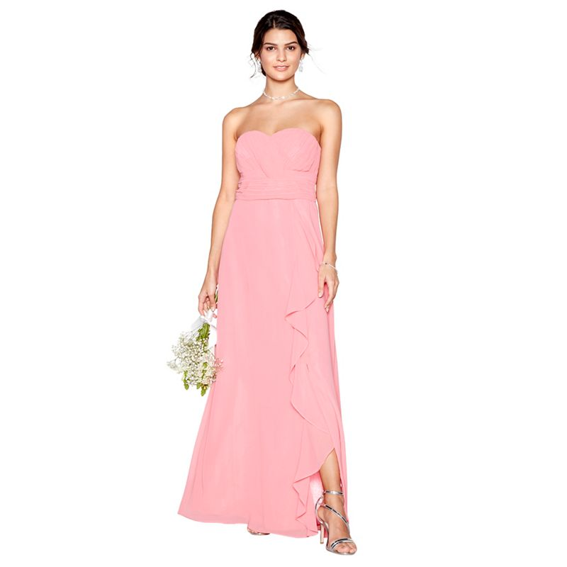 Debut - Coral Chiffon Sara Strapless Bridesmaid Dress