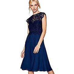 Debut - Navy chiffon lace 'Olivia' high neck midi bridesmaid dress
