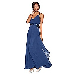 No. 1 Jenny Packham - Navy chiffon v-neck sleeveless bridesmaid dress
