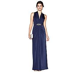 No. 1 Jenny Packham - Dark blue jersey 'Jennifer' embellished maxi dress