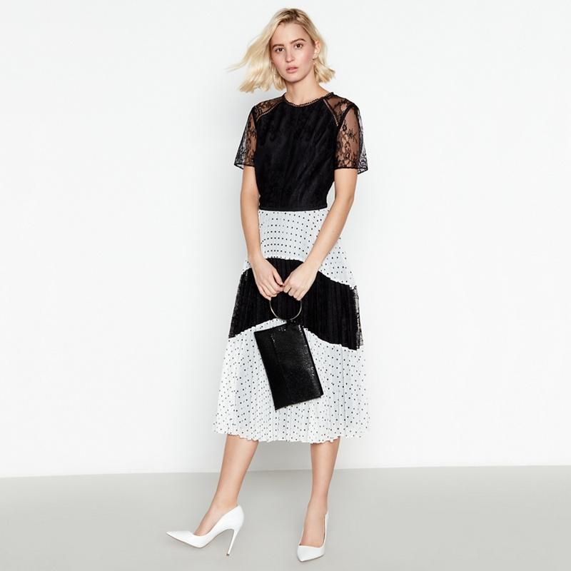 335f1813c33 Debut Black Spot and Lace Pleated Midi Dress