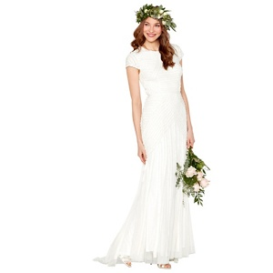 Nine by Savannah Miller Ivory 'Anabella' frilled bridal dress