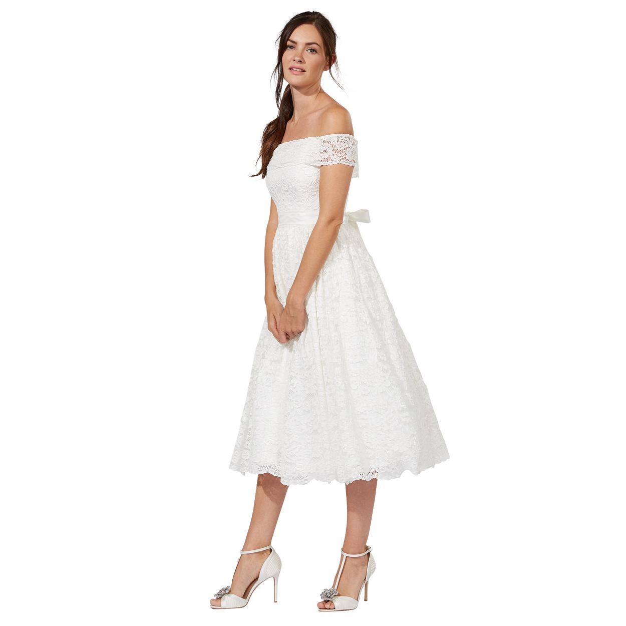 midi midi wedding dress Debut Ivory lace Eternity bardot neck wedding dress
