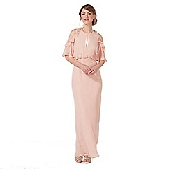 Debut - Light pink 'Rosanna' cold shoulder evening dress
