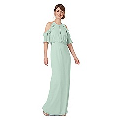 Debut - Pale green 'Rosanna' cold shoulder evening dress