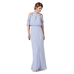 Debut - Pale blue ruffle keyhole maxi dress