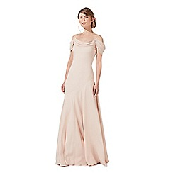 Debut - Pink 'Felicity' cowl neck cold shoulder evening dress