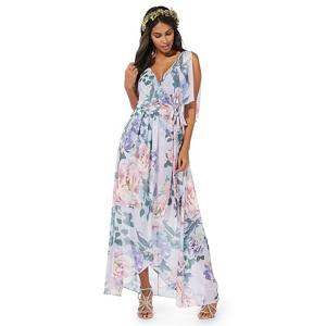 Debut Purple floral print 'Peonise' v-neck evening dress