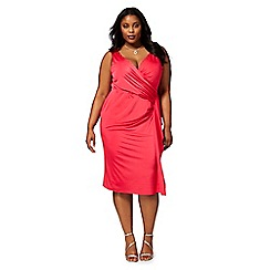 Debut - Bright pink 'Jaime' plus size jersey wrap dress